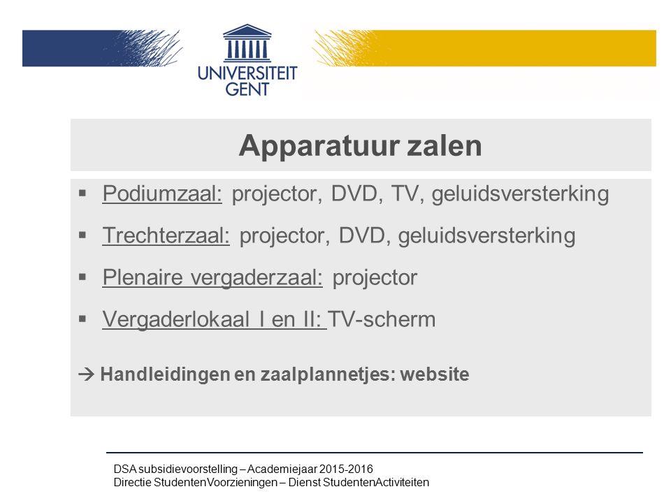 Apparatuur zalen  Podiumzaal: projector, DVD, TV, geluidsversterking  Trechterzaal: projector, DVD, geluidsversterking  Plenaire vergaderzaal: proj