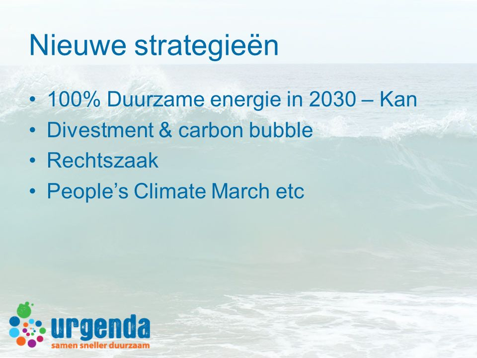 Nieuwe strategieën 100% Duurzame energie in 2030 – Kan Divestment & carbon bubble Rechtszaak People's Climate March etc