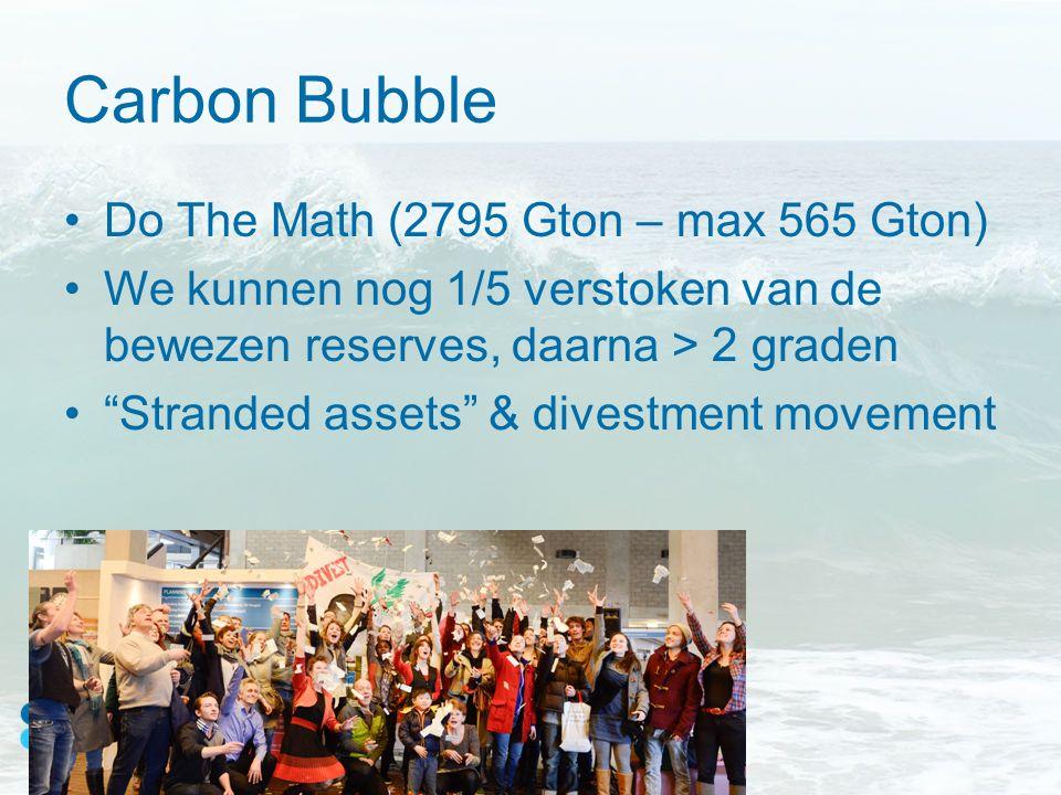 """Carbon Bubble Do The Math (2795 Gton – max 565 Gton) We kunnen nog 1/5 verstoken van de bewezen reserves, daarna > 2 graden """"Stranded assets"""" & divest"""