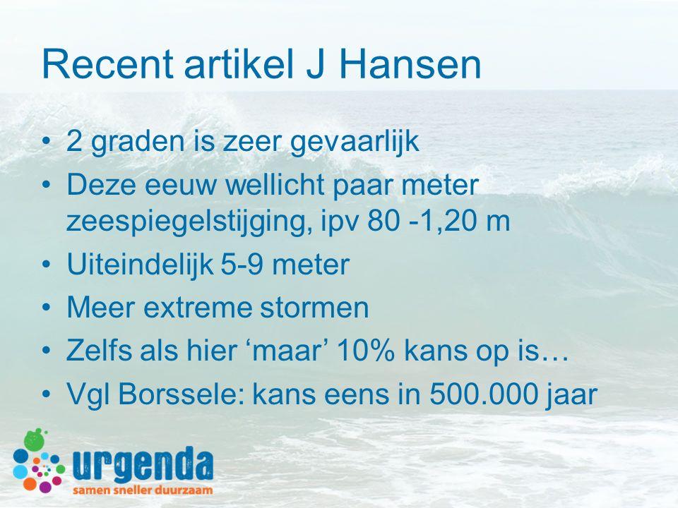 Recent artikel J Hansen 2 graden is zeer gevaarlijk Deze eeuw wellicht paar meter zeespiegelstijging, ipv 80 -1,20 m Uiteindelijk 5-9 meter Meer extre