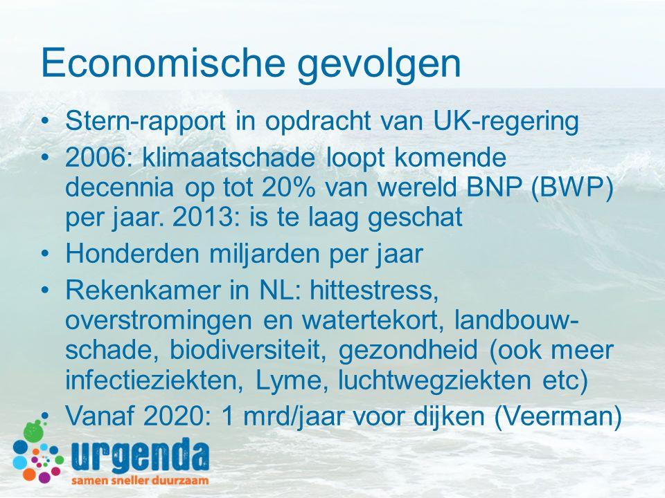 Economische gevolgen Stern-rapport in opdracht van UK-regering 2006: klimaatschade loopt komende decennia op tot 20% van wereld BNP (BWP) per jaar. 20