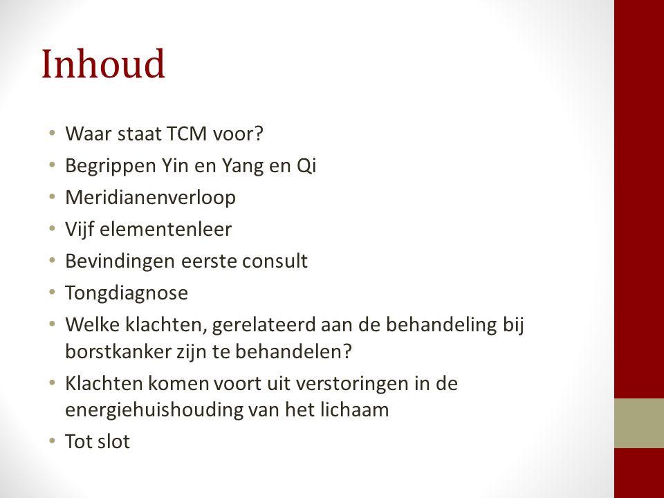 Inhoud Waar staat TCM voor? Begrippen Yin en Yang en Qi Meridianenverloop Vijf elementenleer Bevindingen eerste consult Tongdiagnose Welke klachten, g