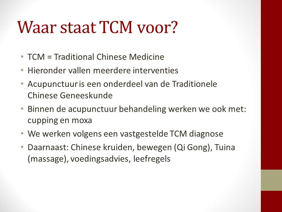 Waar staat TCM voor? TCM = Traditional Chinese Medicine Hieronder vallen meerdere interventies Acupunctuur is een onderdeel van de Traditionele Chines