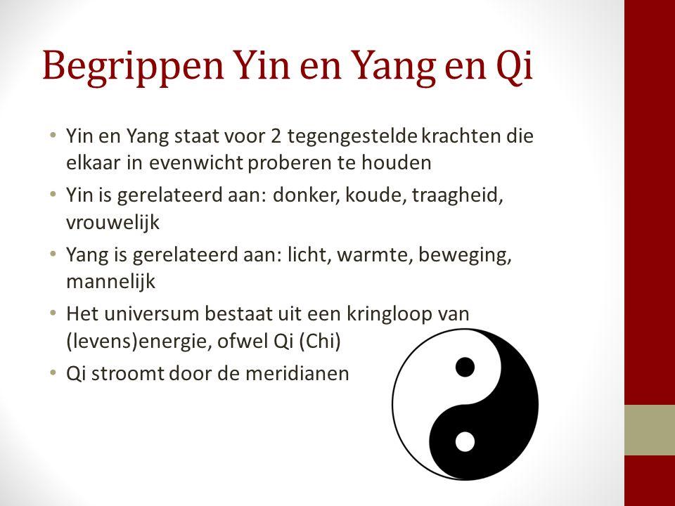 Begrippen Yin en Yang en Qi Yin en Yang staat voor 2 tegengestelde krachten die elkaar in evenwicht proberen te houden Yin is gerelateerd aan: donker,