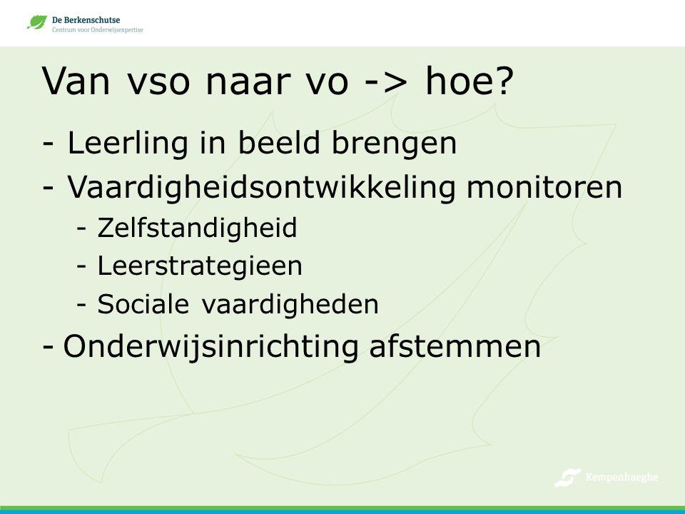 Van vso naar vo -> hoe? -Leerling in beeld brengen -Vaardigheidsontwikkeling monitoren -Zelfstandigheid -Leerstrategieen -Sociale vaardigheden -Onderw