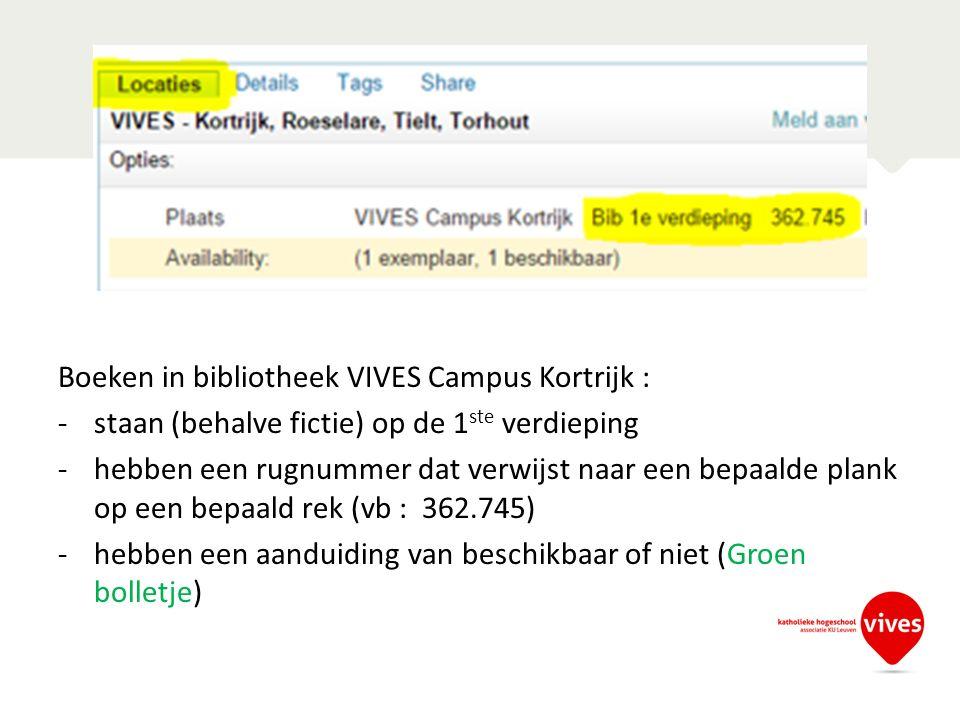Boeken in bibliotheek VIVES Campus Kortrijk : -staan (behalve fictie) op de 1 ste verdieping -hebben een rugnummer dat verwijst naar een bepaalde plank op een bepaald rek (vb : 362.745) -hebben een aanduiding van beschikbaar of niet (Groen bolletje)