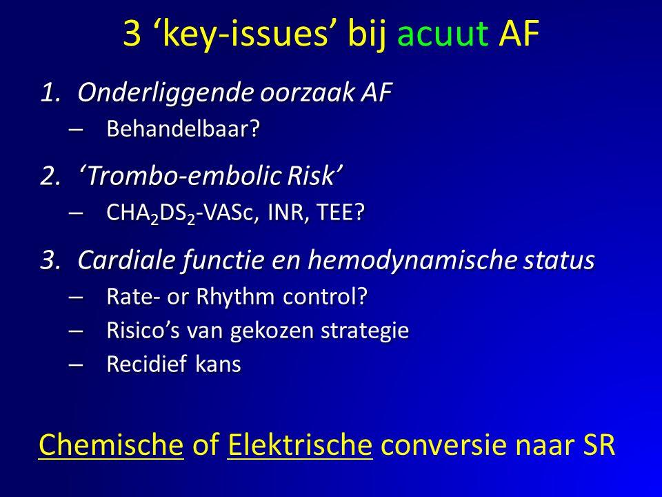 3 'key-issues' bij acuut AF 1.Onderliggende oorzaak AF – Behandelbaar? 2.'Trombo-embolic Risk' – CHA 2 DS 2 -VASc, INR, TEE? 3.Cardiale functie en hem