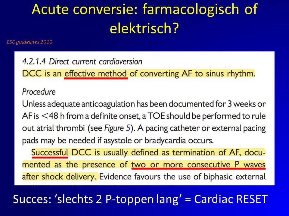 Succes: 'slechts 2 P-toppen lang' = Cardiac RESET ESC guidelines 2010 Acute conversie: farmacologisch of elektrisch?