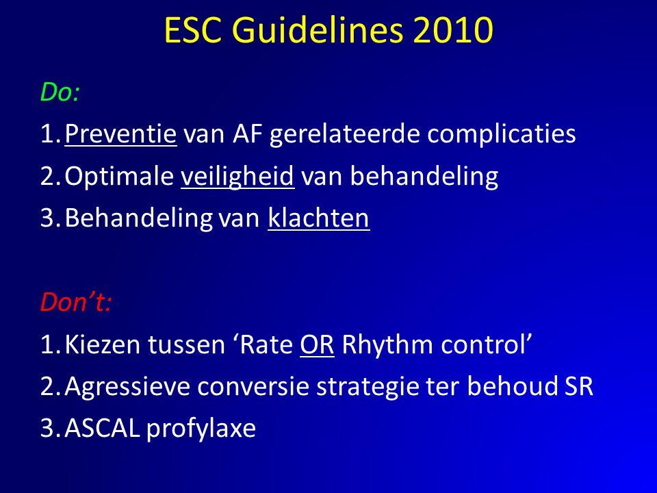 Do: 1.Preventie van AF gerelateerde complicaties 2.Optimale veiligheid van behandeling 3.Behandeling van klachten Don't: 1.Kiezen tussen 'Rate OR Rhyt