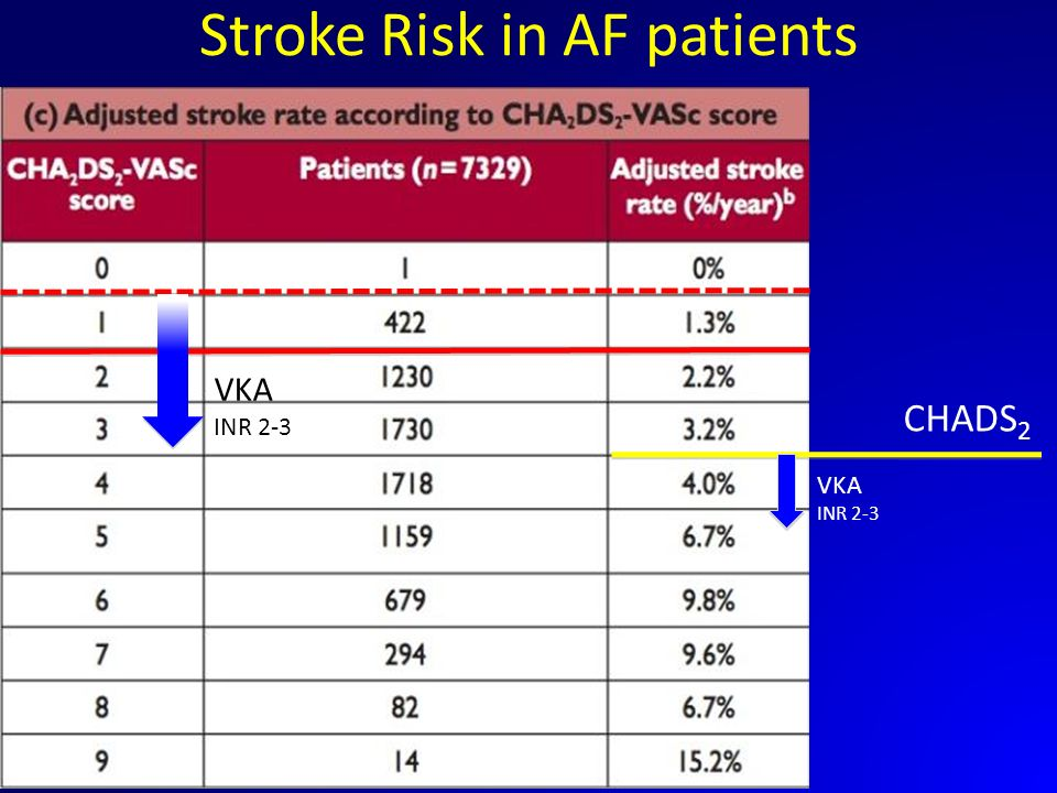 Stroke Risk in AF patients CHADS 2 VKA INR 2-3 VKA INR 2-3