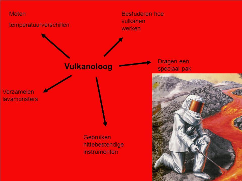 Meten temperatuurverschillen Bestuderen hoe vulkanen werken Dragen een speciaal pak Gebruiken hittebestendige instrumenten Verzamelen lavamonsters Vul