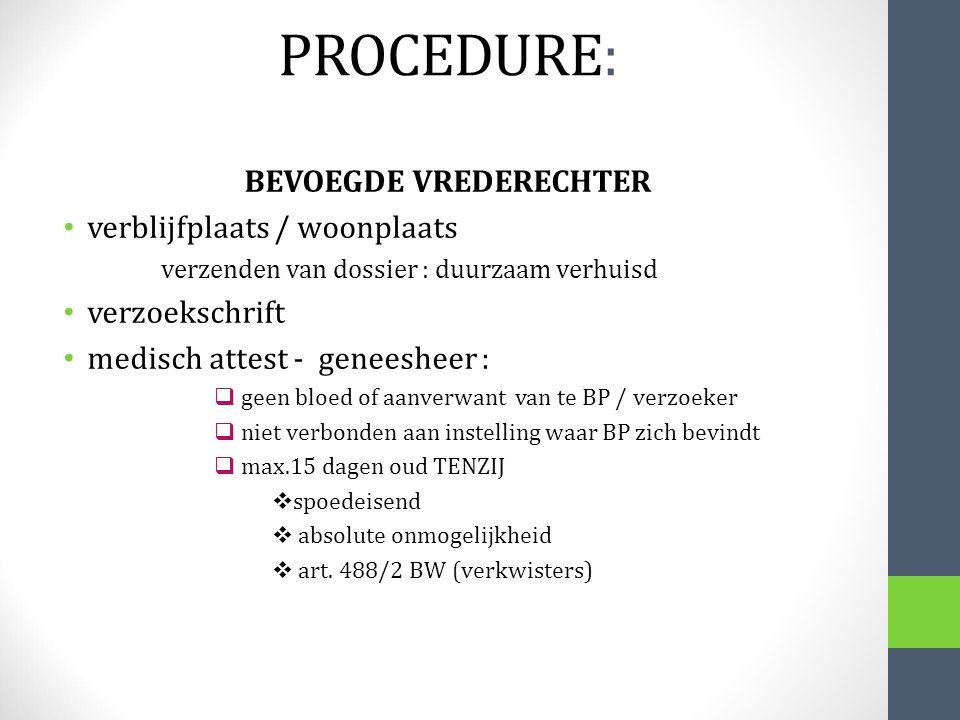 BEVOEGDE VREDERECHTER verblijfplaats / woonplaats verzenden van dossier : duurzaam verhuisd verzoekschrift medisch attest - geneesheer :  geen bloed