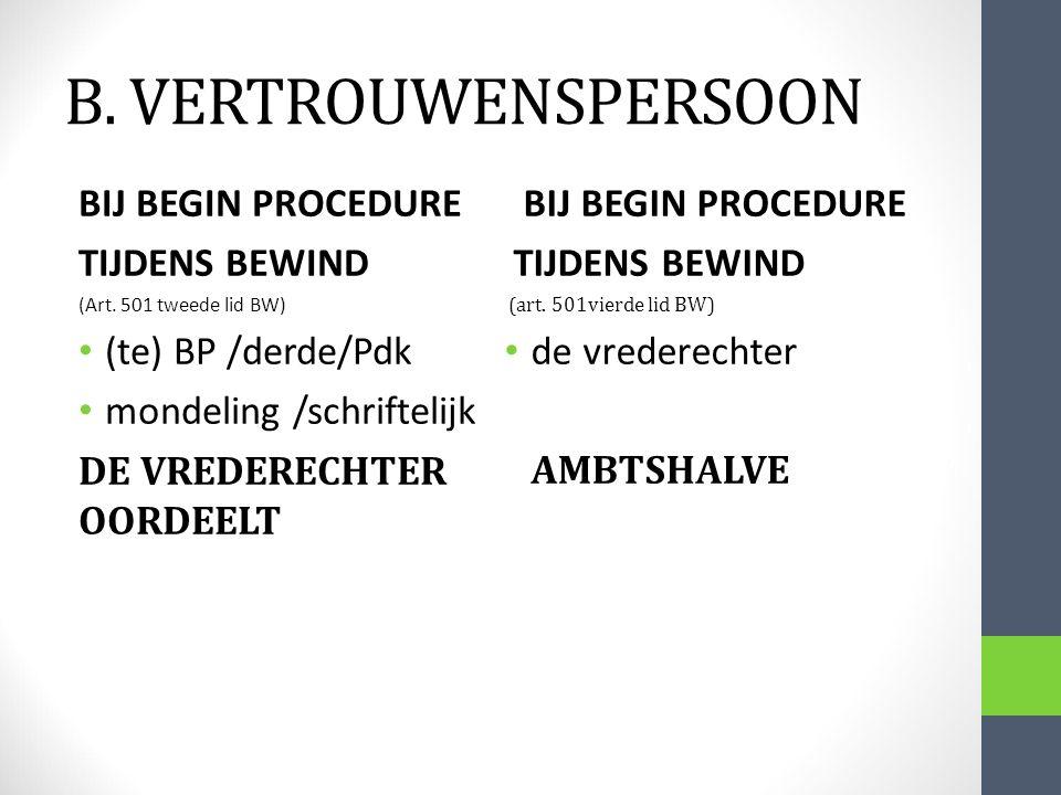 B. VERTROUWENSPERSOON BIJ BEGIN PROCEDURE TIJDENS BEWIND (art. 501vierde lid BW) de vrederechter AMBTSHALVE BIJ BEGIN PROCEDURE TIJDENS BEWIND (Art. 5