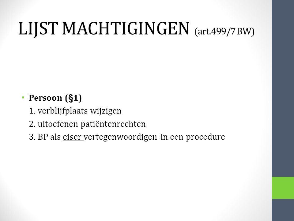 LIJST MACHTIGINGEN (art.499/7 BW) Persoon (§1) 1. verblijfplaats wijzigen 2. uitoefenen patiëntenrechten 3. BP als eiser vertegenwoordigen in een proc