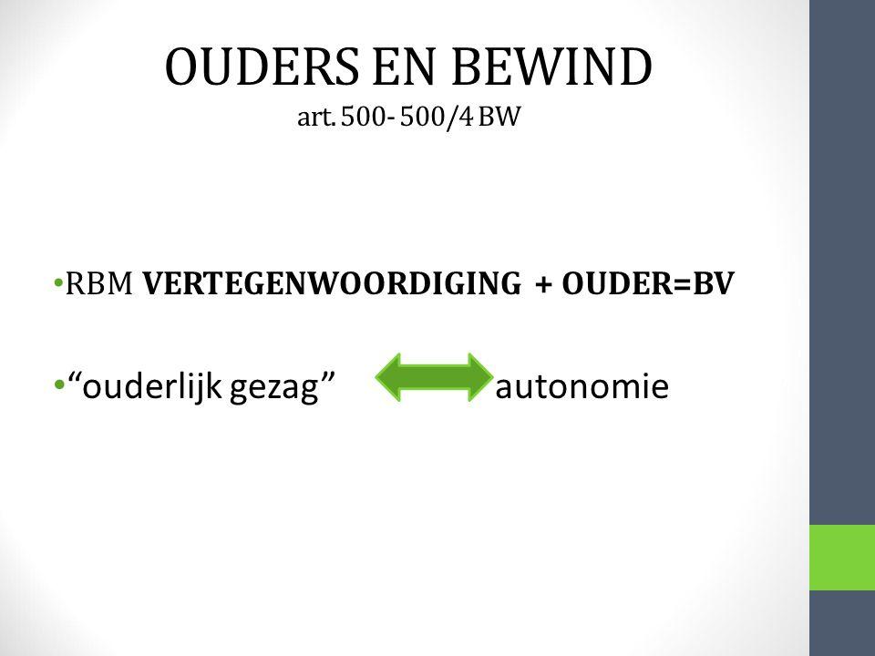 """OUDERS EN BEWIND art. 500- 500/4 BW RBM VERTEGENWOORDIGING + OUDER=BV """"ouderlijk gezag"""" autonomie"""