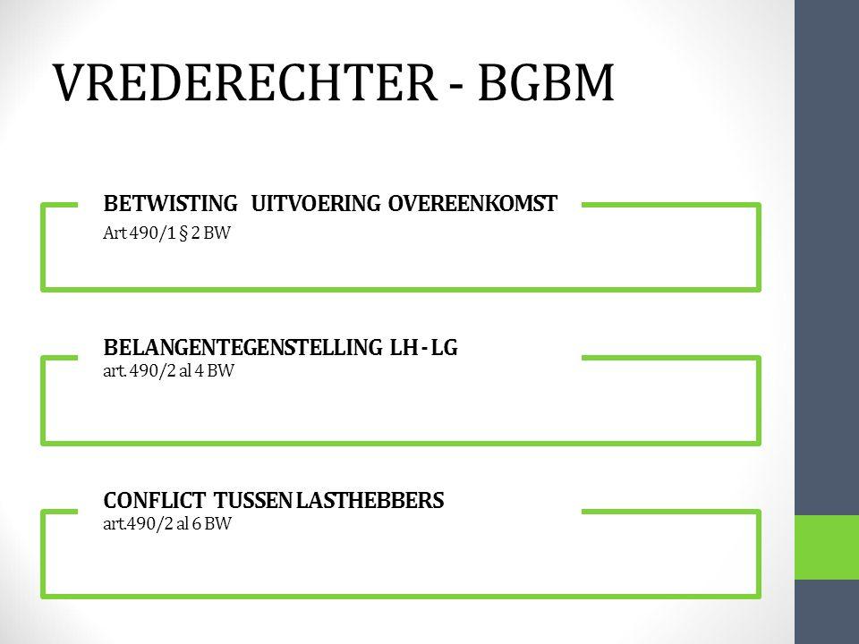 VREDERECHTER - BGBM BETWISTING UITVOERING OVEREENKOMST Art 490/1 § 2 BW BELANGENTEGENSTELLING LH - LG art. 490/2 al 4 BW CONFLICT TUSSEN LASTHEBBERS a