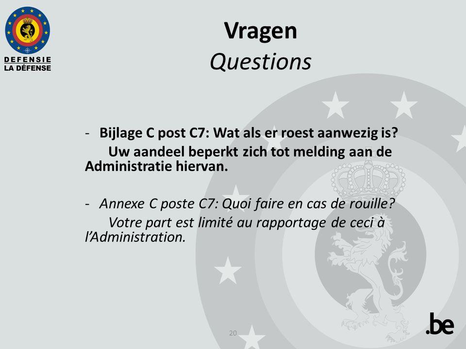 20 Vragen Questions -Bijlage C post C7: Wat als er roest aanwezig is.