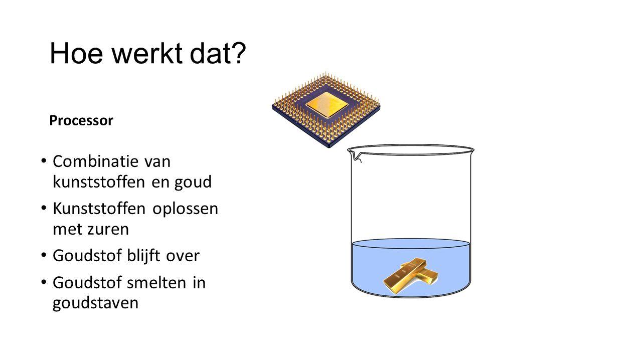 Hoe werkt dat? Processor Combinatie van kunststoffen en goud Kunststoffen oplossen met zuren Goudstof blijft over Goudstof smelten in goudstaven