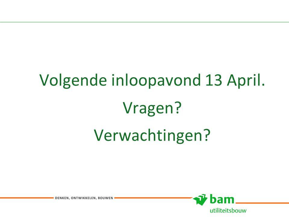 Volgende inloopavond 13 April. Vragen? Verwachtingen? 8