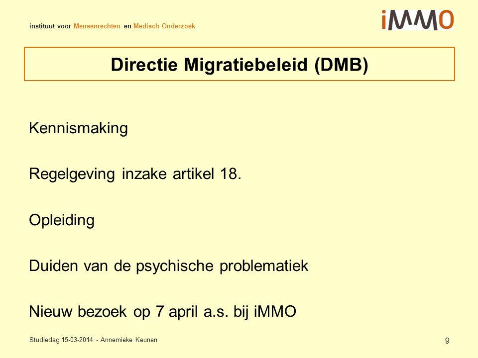 instituut voor Mensenrechten en Medisch Onderzoek Directie Migratiebeleid (DMB) Kennismaking Regelgeving inzake artikel 18.