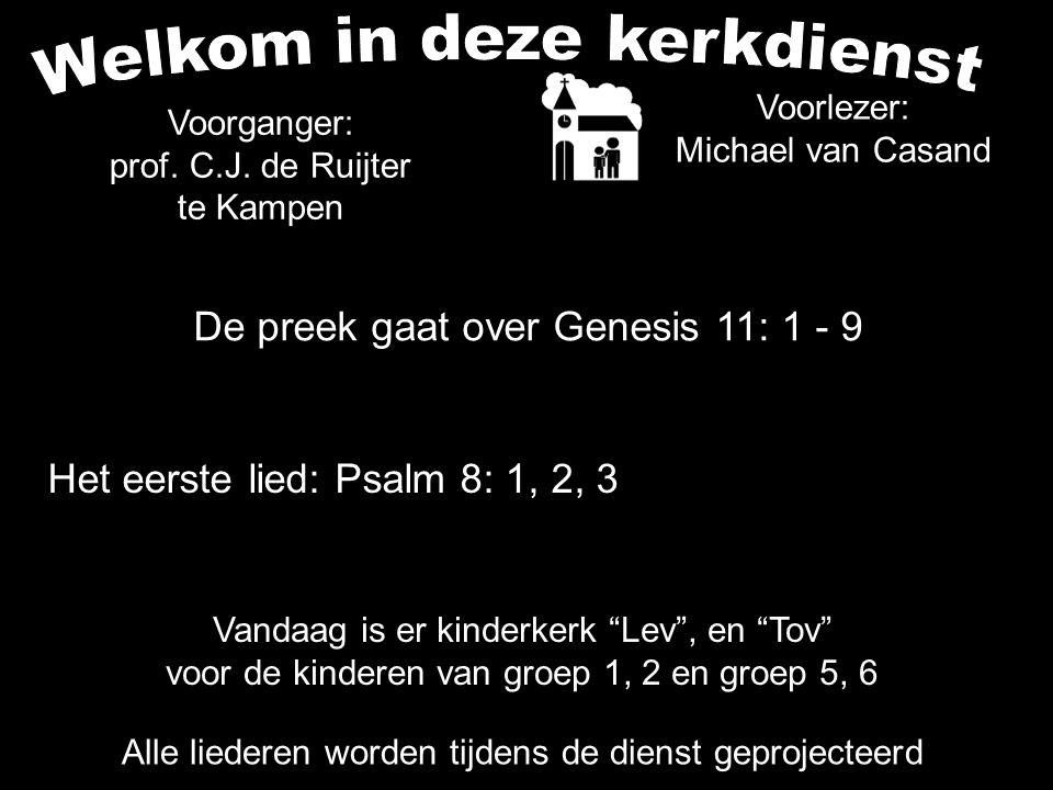De preek gaat over Genesis 11: 1 - 9 Alle liederen worden tijdens de dienst geprojecteerd Het eerste lied: Psalm 8: 1, 2, 3 Voorganger: prof.