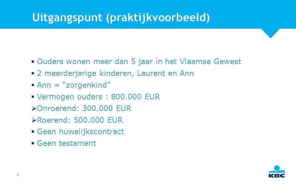 4 Uitgangspunt (praktijkvoorbeeld)  Ouders wonen meer dan 5 jaar in het Vlaamse Gewest  2 meerderjarige kinderen, Laurent en Ann  Ann = zorgenkind  Vermogen ouders : 800.000 EUR  Onroerend: 300.000 EUR  Roerend: 500.000 EUR  Geen huwelijkscontract  Geen testament