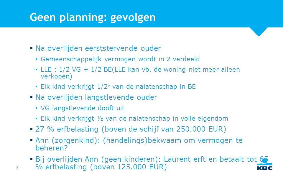 5 Geen planning: gevolgen  Na overlijden eerststervende ouder Gemeenschappelijk vermogen wordt in 2 verdeeld LLE : 1/2 VG + 1/2 BE(LLE kan vb.