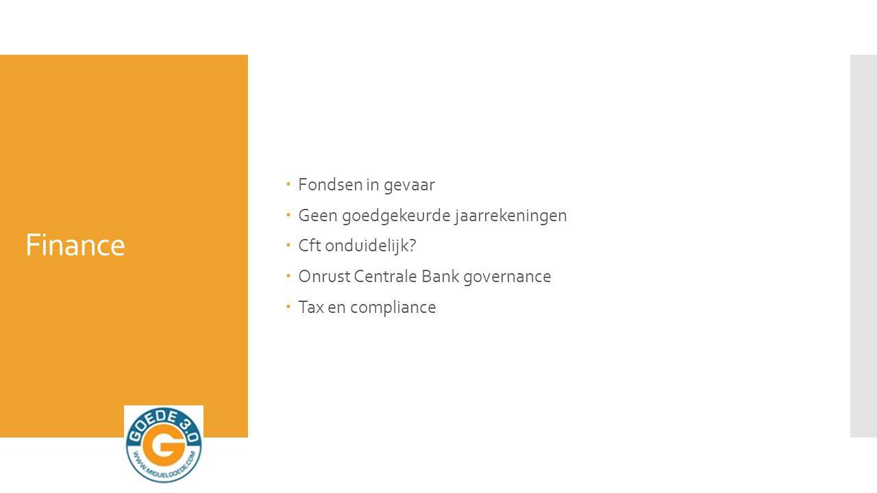 Finance  Fondsen in gevaar  Geen goedgekeurde jaarrekeningen  Cft onduidelijk.