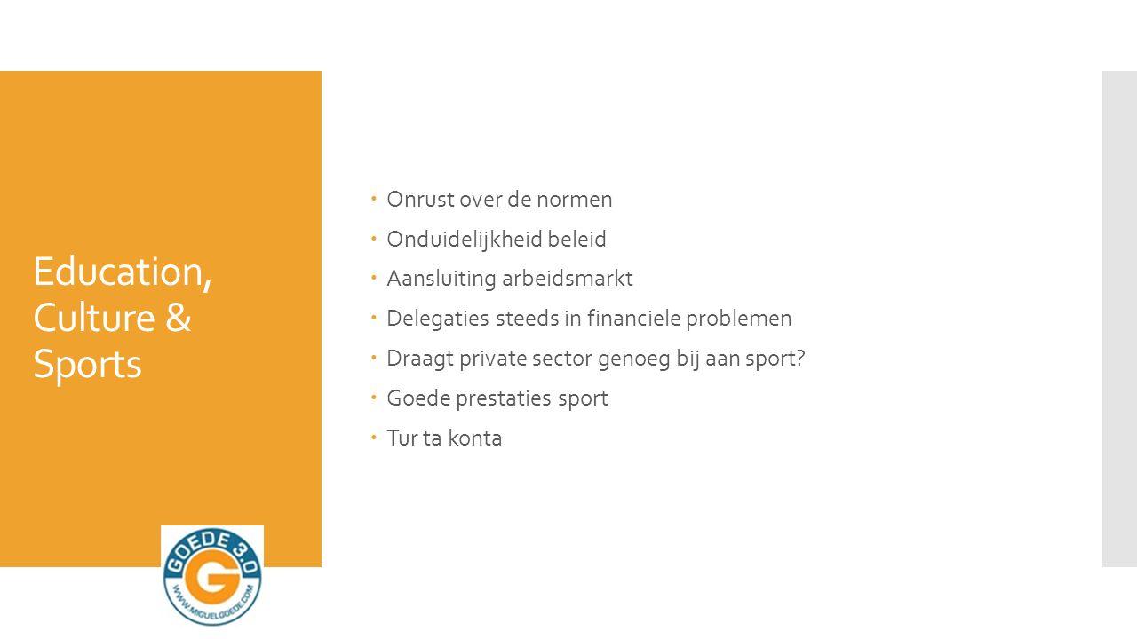 Education, Culture & Sports  Onrust over de normen  Onduidelijkheid beleid  Aansluiting arbeidsmarkt  Delegaties steeds in financiele problemen  Draagt private sector genoeg bij aan sport.