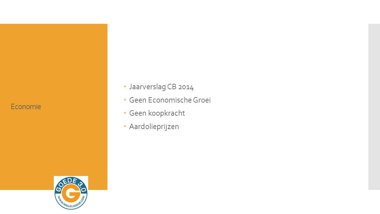 Economie  Jaarverslag CB 2014  Geen Economische Groei  Geen koopkracht  Aardolieprijzen