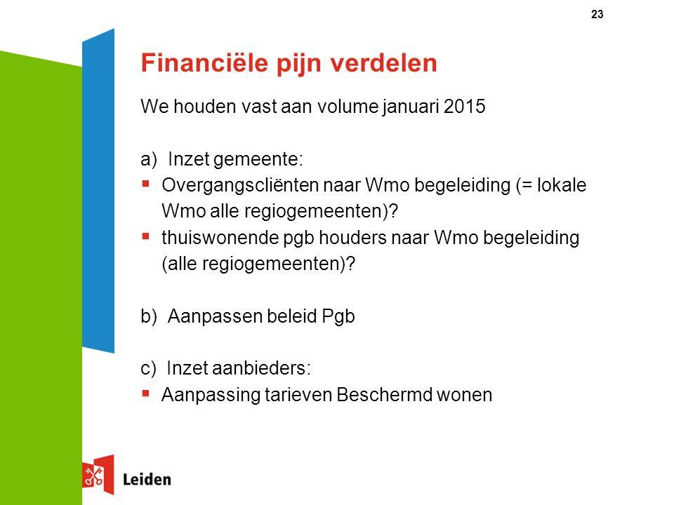 Financiële pijn verdelen We houden vast aan volume januari 2015 a) Inzet gemeente:  Overgangscliënten naar Wmo begeleiding (= lokale Wmo alle regioge