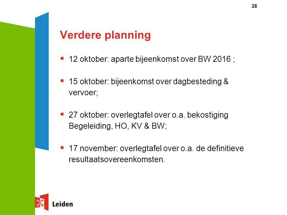 Verdere planning  12 oktober: aparte bijeenkomst over BW 2016 ;  15 oktober: bijeenkomst over dagbesteding & vervoer;  27 oktober: overlegtafel ove
