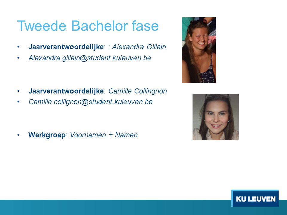 Tweede Bachelor fase Jaarverantwoordelijke: : Alexandra Gillain Alexandra.gillain@student.kuleuven.be Jaarverantwoordelijke: Camille Collingnon Camill