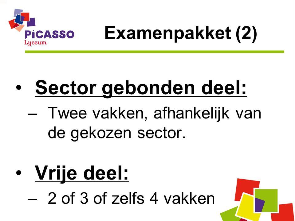Sector gebonden deel: –Twee vakken, afhankelijk van de gekozen sector. Vrije deel: –2 of 3 of zelfs 4 vakken Examenpakket (2)