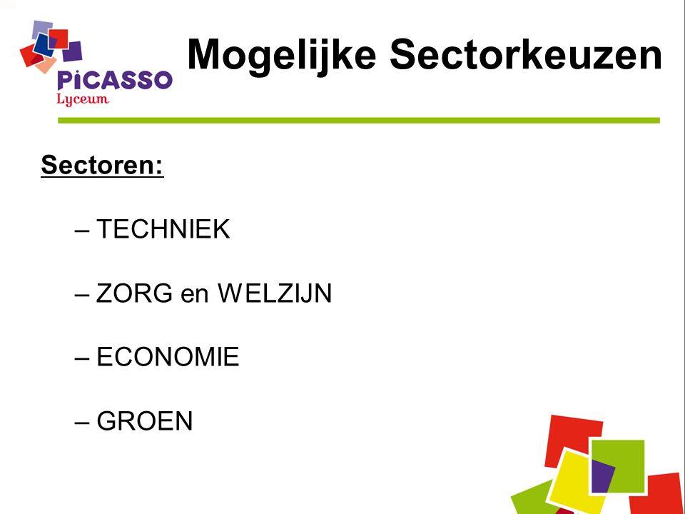 Mogelijke Sectorkeuzen Sectoren: –TECHNIEK –ZORG en WELZIJN –ECONOMIE –GROEN