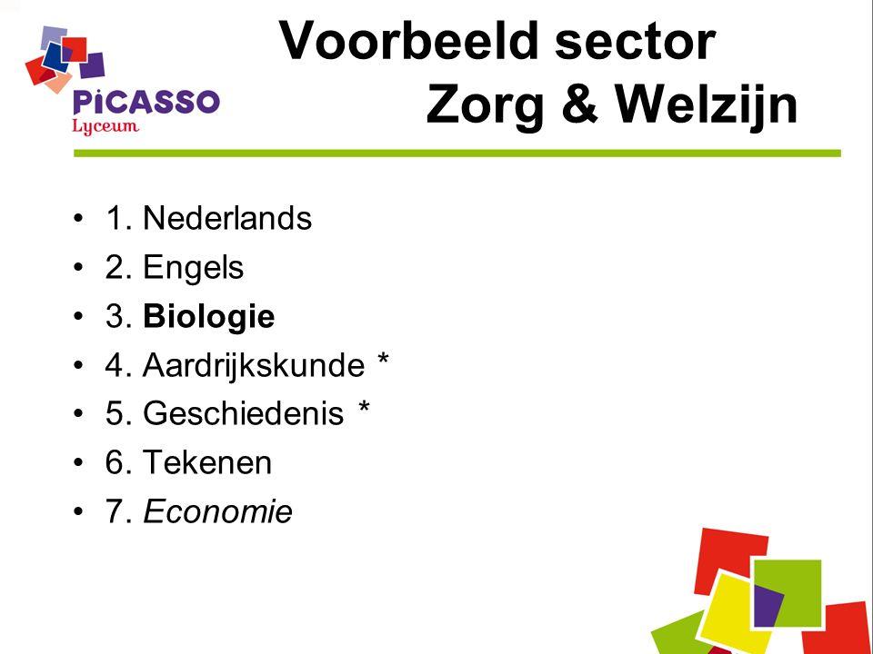 Voorbeeld sector Zorg & Welzijn 1. Nederlands 2. Engels 3. Biologie 4. Aardrijkskunde * 5. Geschiedenis * 6. Tekenen 7. Economie