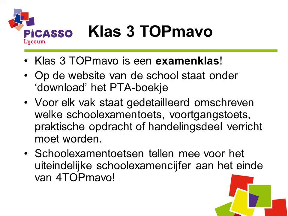 Klas 3 TOPmavo is een examenklas! Op de website van de school staat onder 'download' het PTA-boekje Voor elk vak staat gedetailleerd omschreven welke