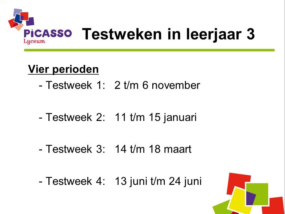 Testweken in leerjaar 3 Vier perioden - Testweek 1: 2 t/m 6 november - Testweek 2: 11 t/m 15 januari - Testweek 3: 14 t/m 18 maart - Testweek 4: 13 ju