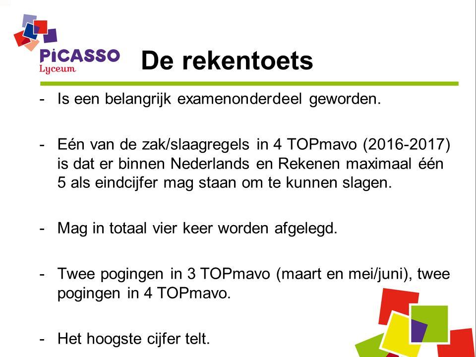De rekentoets -Is een belangrijk examenonderdeel geworden. -Eén van de zak/slaagregels in 4 TOPmavo (2016-2017) is dat er binnen Nederlands en Rekenen