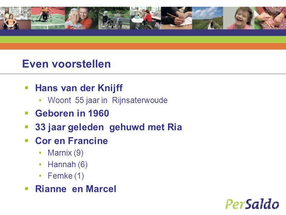 Even voorstellen  Hans van der Knijff Woont 55 jaar in Rijnsaterwoude  Geboren in 1960  33 jaar geleden gehuwd met Ria  Cor en Francine Marnix (9)