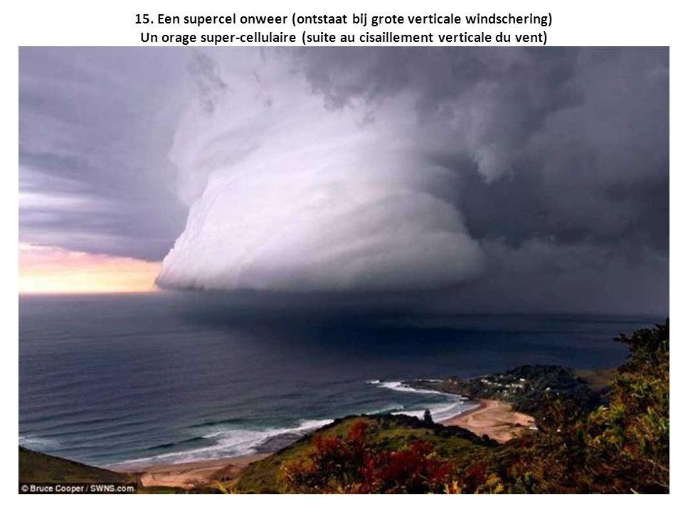 15. Een supercel onweer (ontstaat bij grote verticale windschering) Un orage super-cellulaire (suite au cisaillement verticale du vent)