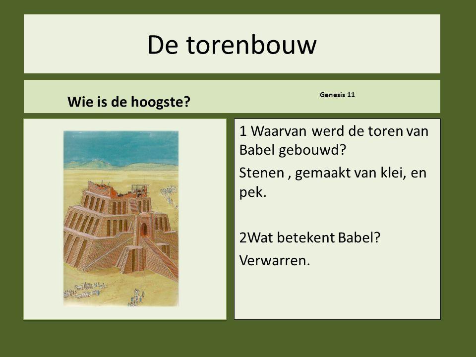 .. De torenbouw Wie is de hoogste? Genesis 11 1 Waarvan werd de toren van Babel gebouwd? Stenen, gemaakt van klei, en pek. 2Wat betekent Babel? Verwar