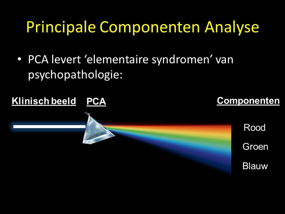 Zweten.88.12 Somberheid.15.85 Bleekheid.70.18 Tremor.99.00 Suicidale neigingen.00.99 Negatieve gedachten.00.99 Innerlijke spanning.91.03 Concentratieproblemen.001.00 Principale Componenten Analyse Symptomen Component structure Component 1 Component 2 => PCA => Analyse van co-variantie van symptomen