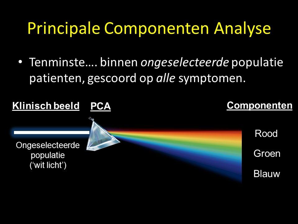 Principale Componenten Analyse PCA levert 'elementaire syndromen' van psychopathologie: Rood Groen Blauw PCA Klinisch beeld Componenten