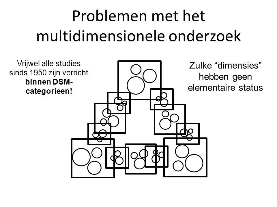 Problemen met het multidimensionele onderzoek Vrijwel alle studies verricht binnen DSM categorieen: onvolledig en vervormd beeld.