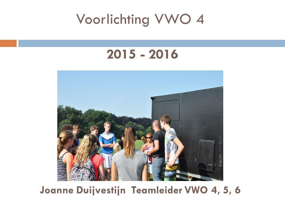 Voorlichting VWO 4 2015 - 2016 Joanne Duijvestijn Teamleider VWO 4, 5, 6