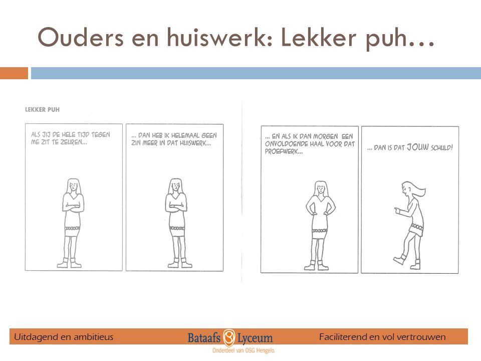 Ouders en huiswerk: Lekker puh… Uitdagend en ambitieus Faciliterend en vol vertrouwen