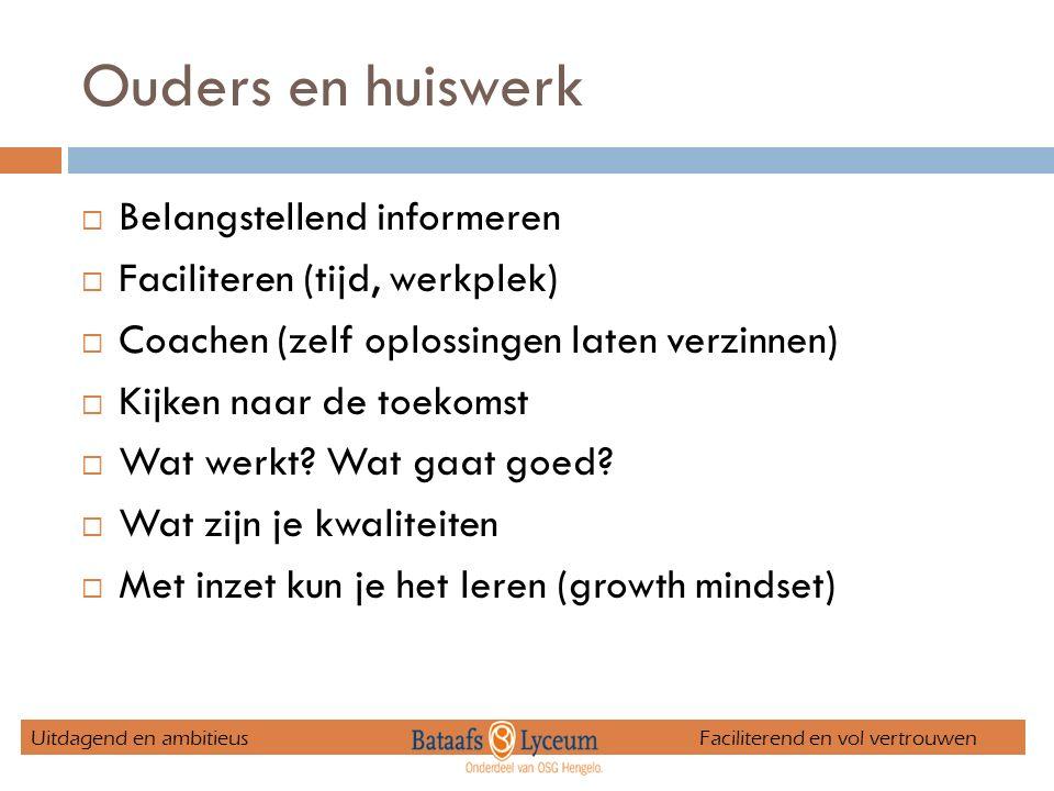 Ouders en huiswerk  Belangstellend informeren  Faciliteren (tijd, werkplek)  Coachen (zelf oplossingen laten verzinnen)  Kijken naar de toekomst  Wat werkt.