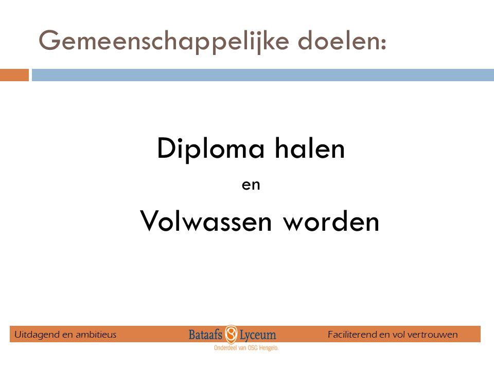 Gemeenschappelijke doelen: Diploma halen en Volwassen worden Uitdagend en ambitieus Faciliterend en vol vertrouwen