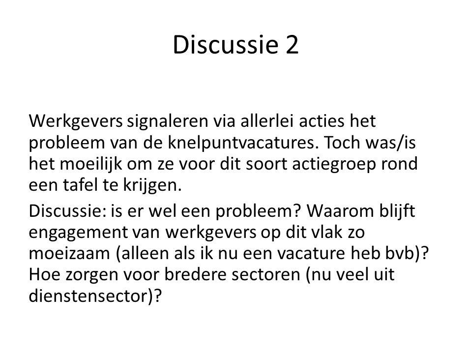 Discussie 2 Werkgevers signaleren via allerlei acties het probleem van de knelpuntvacatures.